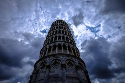 architecture, building, infrastructure, blue, sky, dark, clouds, landmark, tower, skyscraper, piazza dei miracoli