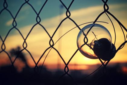 bulb, light, sunset, wire, fence