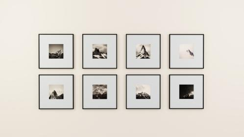 wall, picture frame, display, interior, design, decoration, black and white, gallery, image, indoor, illustration, paintings