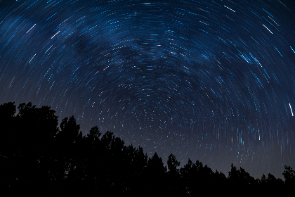 night,  star,  trails,  starry,  sky,  milky way,  galaxy,  space,  trees,  silhouette,  nature,  spinning,  motion,  movement