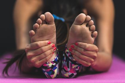 people, woman, girl, yoga, mat, physical, fitness, healthy, lifestyle, stretching, athlete, exercise, foot, hand, manicure, hair
