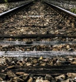 railroad, railway, train tracks, transportation, rocks