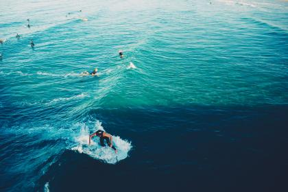 People surfing in the oceans