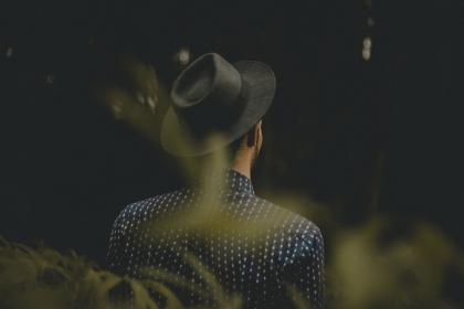 people, guy, man, nature, outdoor, fashion, hat, dark, blur, back
