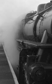 transportation, train, rail, express, steel, iron, smoke, tracks, railways, platform, industrial, black and white, bokeh