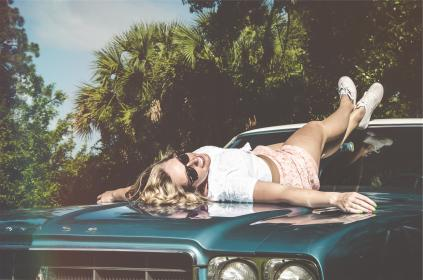 car, hood, vintage, classic, oldschool, girl, woman, sunglasses, blonde, curls, shorts, shoes, sneakers, fashion, model, pretty, cute, beautiful, trees, sexy