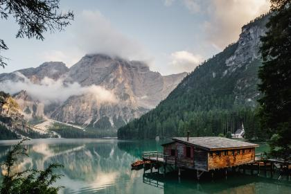 mountain, valley, hill, landscape, nature, sky, clouds, fogs, cold, lake, water, blue, trees, reflection, rest, house, floating, cottage