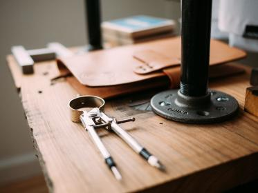 compass, drafting, tools, design, notebook, wood, table