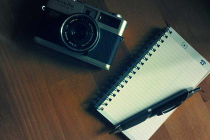 camera, notepad, pen, photography, office, desk, wood, creative, business, slr, objects