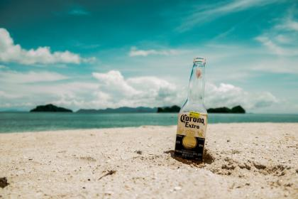 sea, ocean, water, wave, nature, blue, sky, cloud, island, sand, beach, coast, shore, bottle, beverage, drink, summer, vacation, sunny, day