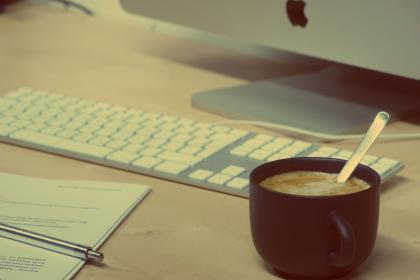 coffee, latte, cappuccino, mac, computer, desktop, keyboard, papers, notes, pen, office, desk, business, creative, technology