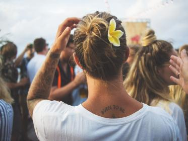 people, crowd, back, tattoo, arm, blur, outdoor