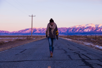woman,  mountain,  road,  barren,  cold,  snow,  mountains,  highway,  thoughts,  blue sky