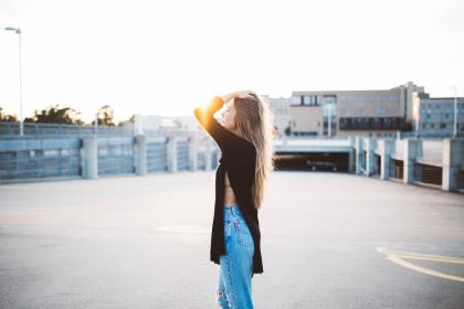 woman, girl, lady, people, side, profile, flare, fashion, style, slit, pants, blonde, pose, beauty