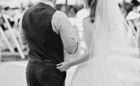 people, man, woman, couple, marriage, wedding, event, formal, gown, long sleeves, black and white, monochrome, bride, groom