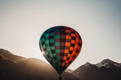 hot air balloon, sky, sunrise, sunlight, sunshine, adventure, ride, mountain, landscape, nature