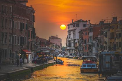 canal, water, boat, sailing, buildings, italy, sunset, view, sky, people, travel