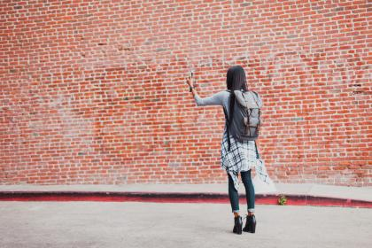 wall, bricks, back, woman, female, girl, backpack, fashion, model, selfie