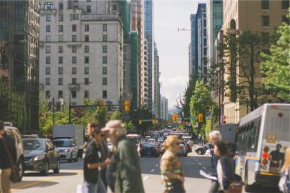 city, people, pedestrians, walking, traffic, roads, streets, trucks, cars, busses, lights, buildings, towers, downtown
