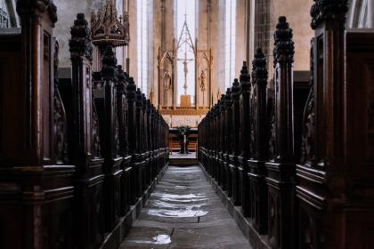 architecture, building, infrastructure, catholic, church, aisle, altar, seats