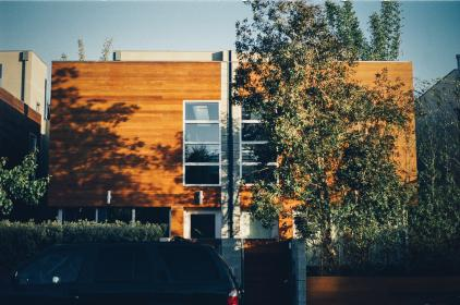 wood paneling, house, windows, modern, trees, entrance