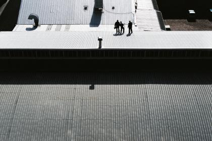 roof, steel, building, architecture, infrastructure, people, man, guy, ladder,