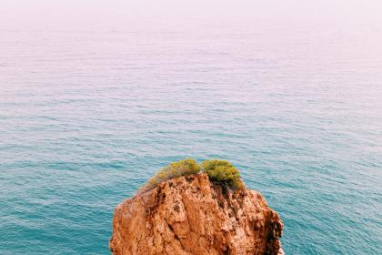 sea, ocean, blue, water, waves, nature, rocks, hill, cliff, landscape, view, green, trees, plant