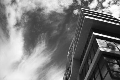architecture, building, infrastructure, black and white, cloud, sky