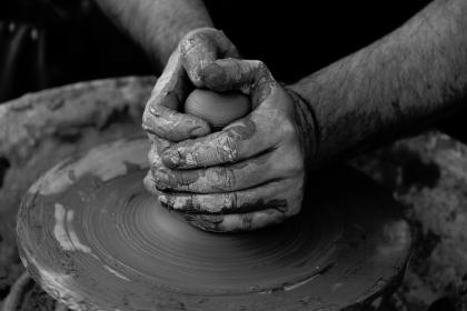 art, clay, pottery, people, artist, hands, sculptor, black and white, grayscale, monochrome