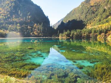 lake, water, trees, mountains, hills, nature, Jiuzhaigou, China