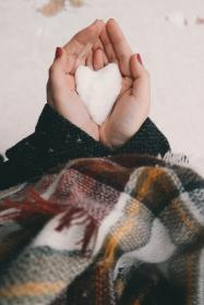 people, hand, snow, winter, cold, weather, heart, snow, cloth, white, shape