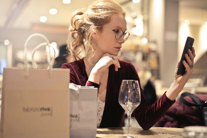 woman,  glasses,  mobile,  device,  technology,  shopping,  bags,  wine,  drink,  food,  table,  restaurant