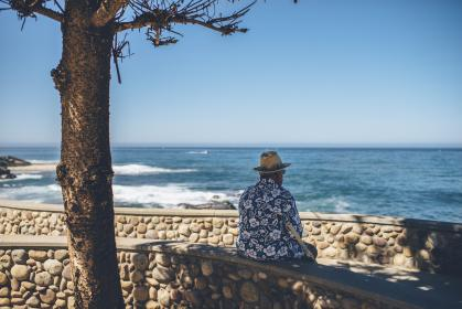 people, man, alone, chill, relax, stone, rock, water, ocean, sea, beach, waves, travel, advenure, summer, clouds, sky, blue