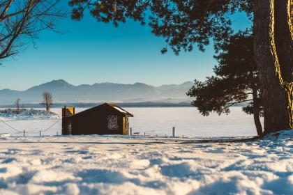 snow, winter, white, cold, weather, ice, trees, plants, nature, house, travel, adventure, mountain, blue, home, cabin, brown