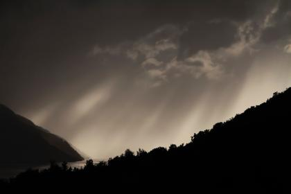 ray, mountain, trees, silhouette, clouds, sky