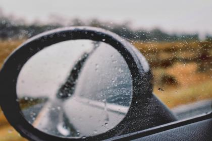 car, mirror, travel, transportation, vehicle, road, rain, adventure