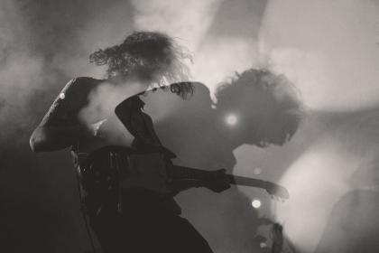 people, man, musician, playing, electric, guitar, stage, concert, smoke, light, black and white, rock, band, music