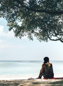 slippers, people, girl, alone, beach, coast, sea, water, ocean, wave, sky, nature, tree, shade, summer, vacation