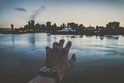 people, man, hand, clock, time, watch, accessories, water, ocean, sea, clouds, sky, urban, city, building, establishment