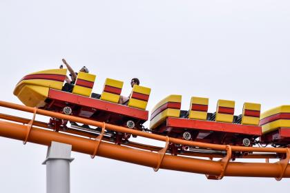 amusement, ride, adventure, people, roller coaster, steel, sky
