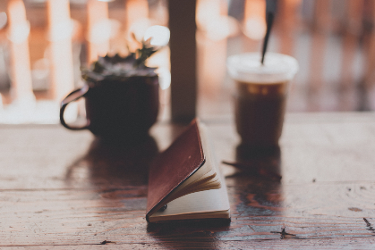 notepad,   rustic,   leather,   vintage,   drink,   coffee,   tea,   beverage,   cup,   book,   caffeine,   notebook,   table,   writing