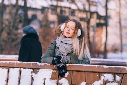 snow, winter, white, cold, weather, ice, trees, plants, nature, people, woman, scarf, gloves, beauty