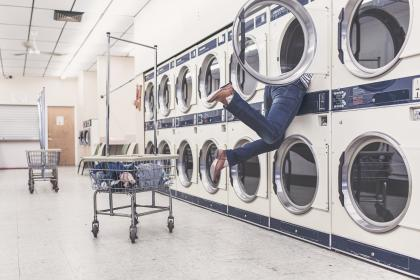 laundry, laundromat, washing machine, dryer, clothes, dirty, shoes, jeans, pants