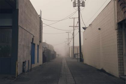 industrial, alley, warehouses, pavement, concrete, power lines, posts