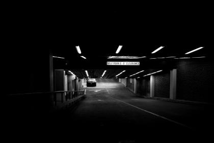 parking garage, cars, underground, lights