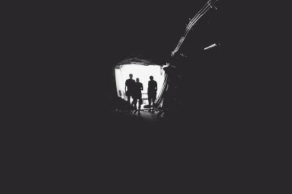 black and white, people, tunnel, entrance, open