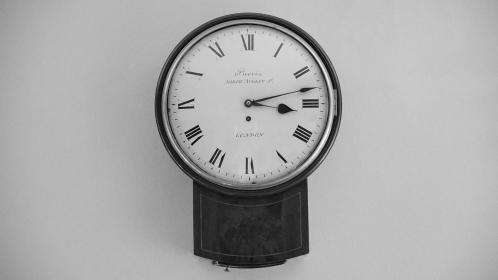 still, items, things, wall, clock, time, roman, numerals, black, white