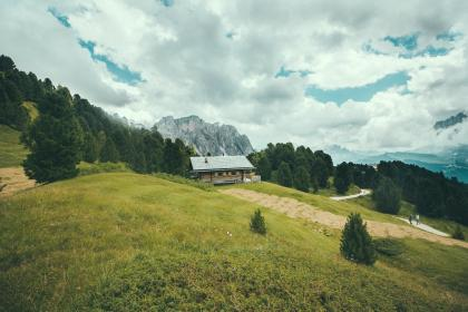 people, man, lady, lover, couple, land, trees, grass, green, house, rural, mountain, sky, clouds