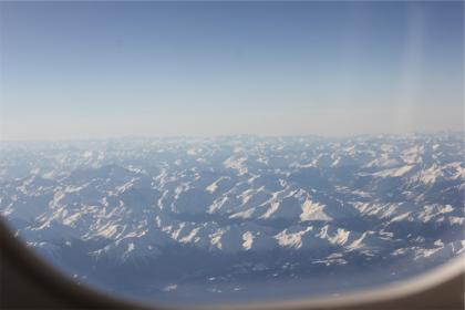 aerial, window, mountains, peaks, snow, view