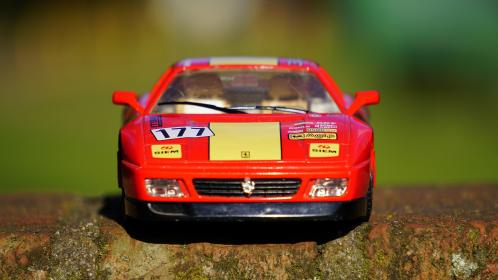 crafts, hobby, miniature, cars, still, items, things, toys, model, scale, brick, ferrari, red, race, bokeh